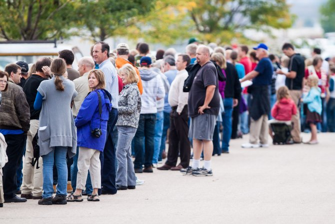 A long line of supports wait outside of Walker Manufacturing before Paul Ryan's speech in Fort Collins on Wednesday. Hundreds of people crowded in the warehouse to hear Ryan speak.