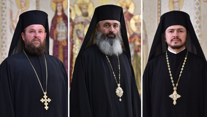 Arhimandritul Veniamin Goreanu, preasfinţitul Părinte Antonie și arhimandritul  Timotei Bel