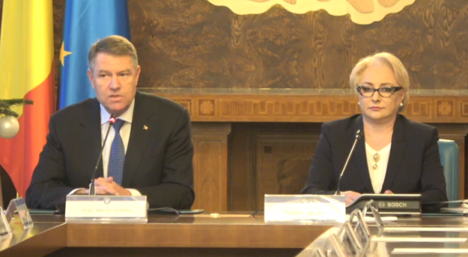 Klaus Iohannis si Viorica Dancila sedinta de Guvern