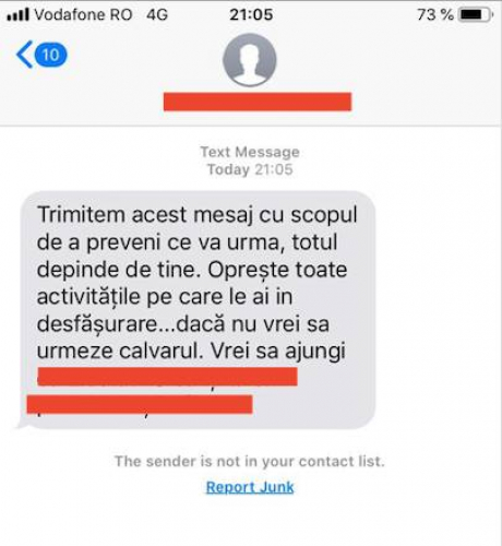 Mesaj amenintare - sursa: Emilia Sercan / facebook