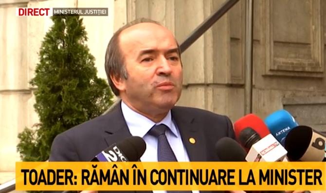 Ministrul Justiţiei, Tudorel Toader, anunţ după discuţia cu premierul Viorica Dăncilă