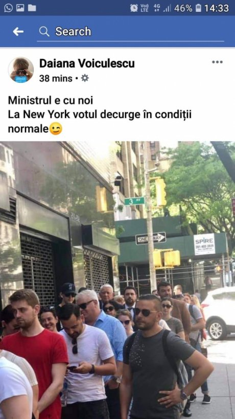 Teodor Meleşcanu, la secţia de votare din New York. Sursa foto: Daiana Voiculescu / Facebook