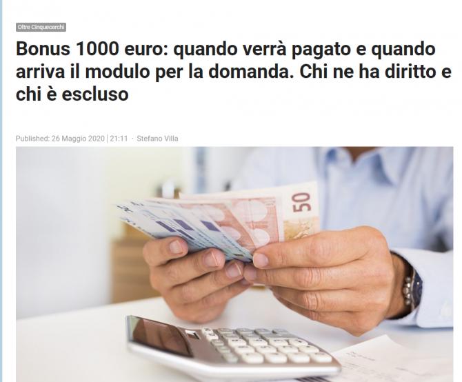 Bonus 1000 de euro Italia