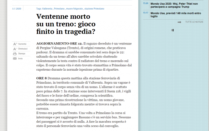 roman mort italia parkour
