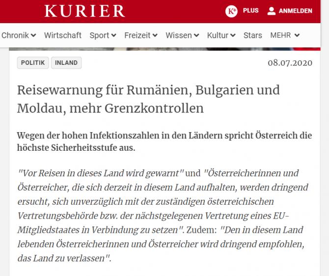 austria nivel securitate romania