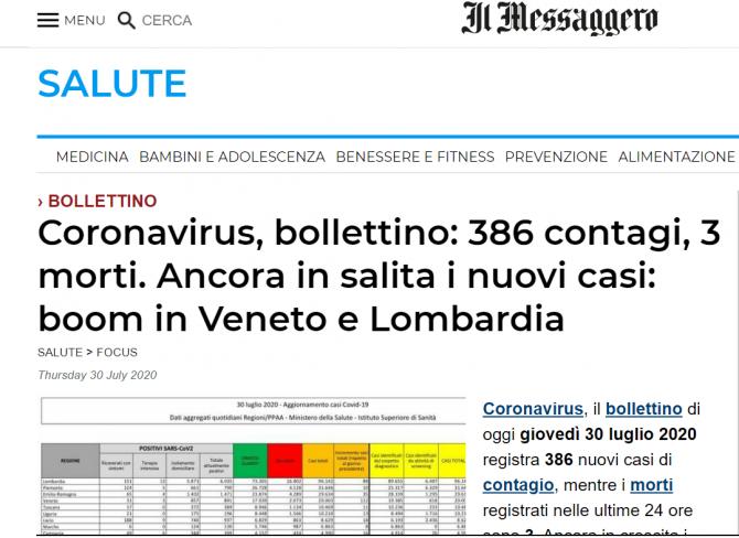 italia coronavirus 30 iulie
