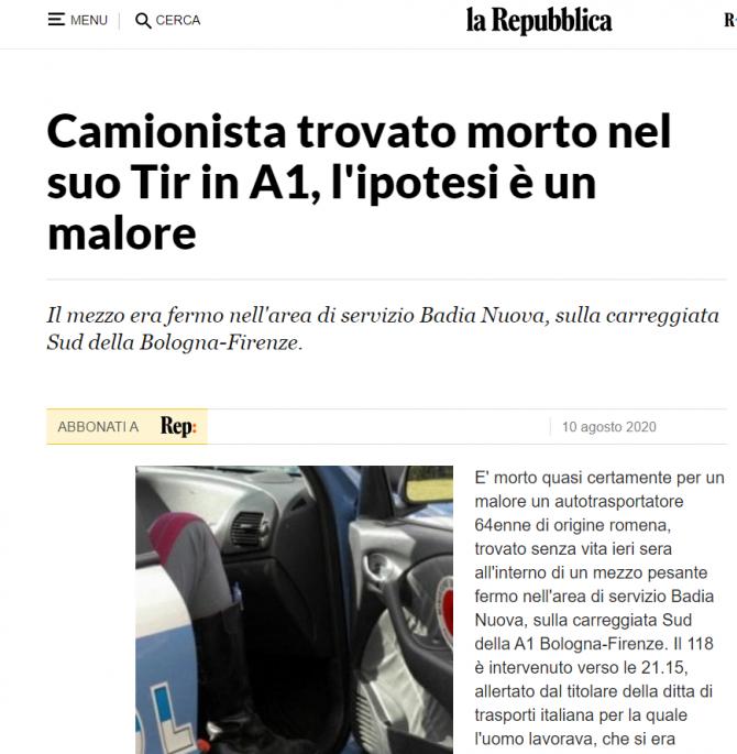 italia sofer de tir gasit mort parcare