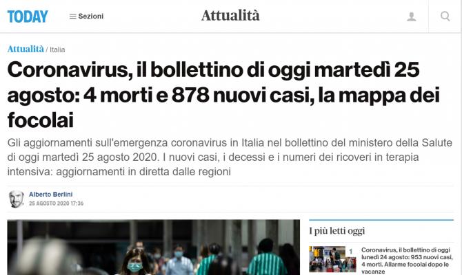bilant covid italia 25 august