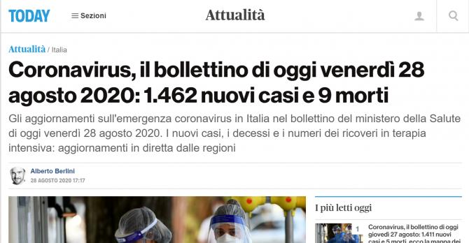 bilant coronavirus italia 28 august