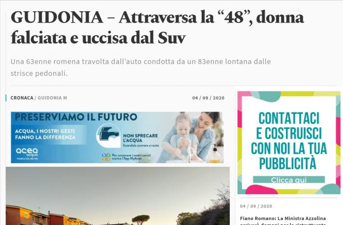 romanca ucisa italia accident rutier