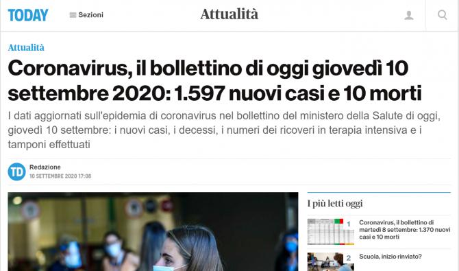bilant italia 10 septembrie