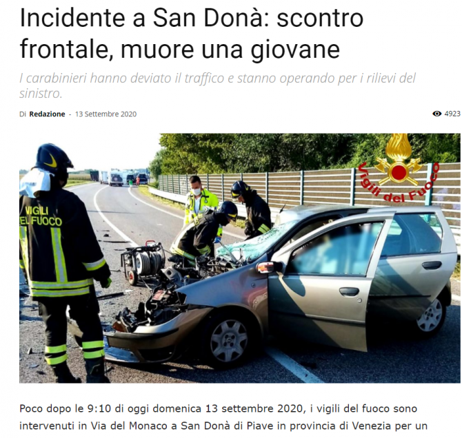 accident romani italia