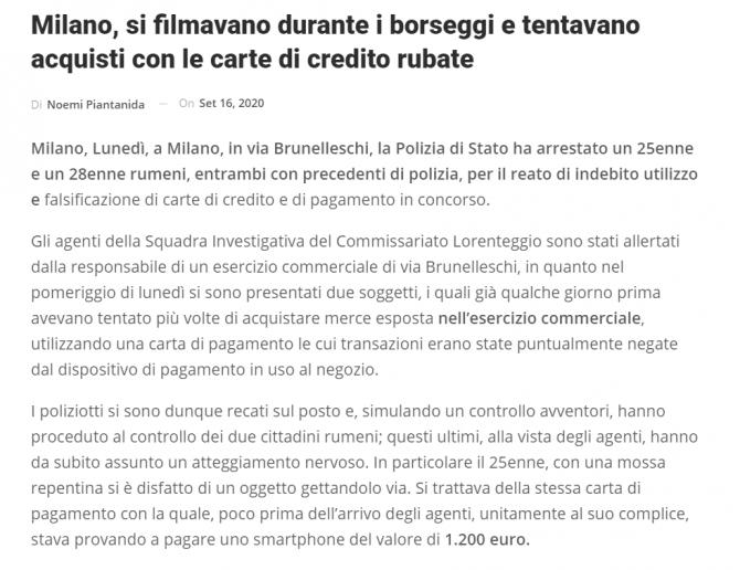 italia romani se filmau in timp ce furau