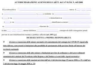 Declaratie pe proprie raspundere Italia - octombrie 2020