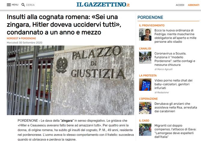 romanca umilita italia rasism