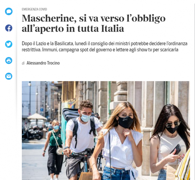 masca obligatorie italia
