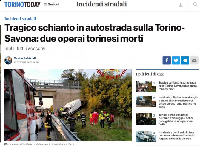 accident italia roman mort
