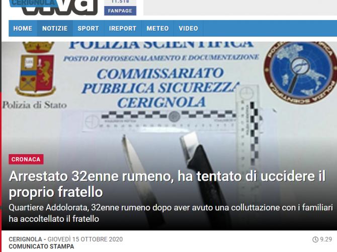italia roman arestat si-a injunghiat fratele