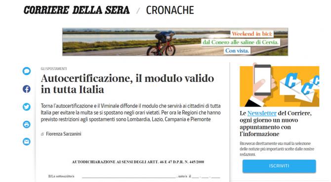declaratie proprie raspundere italia autocertificazioni