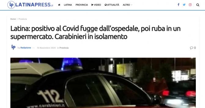 roman fugit spital covid carabinieri