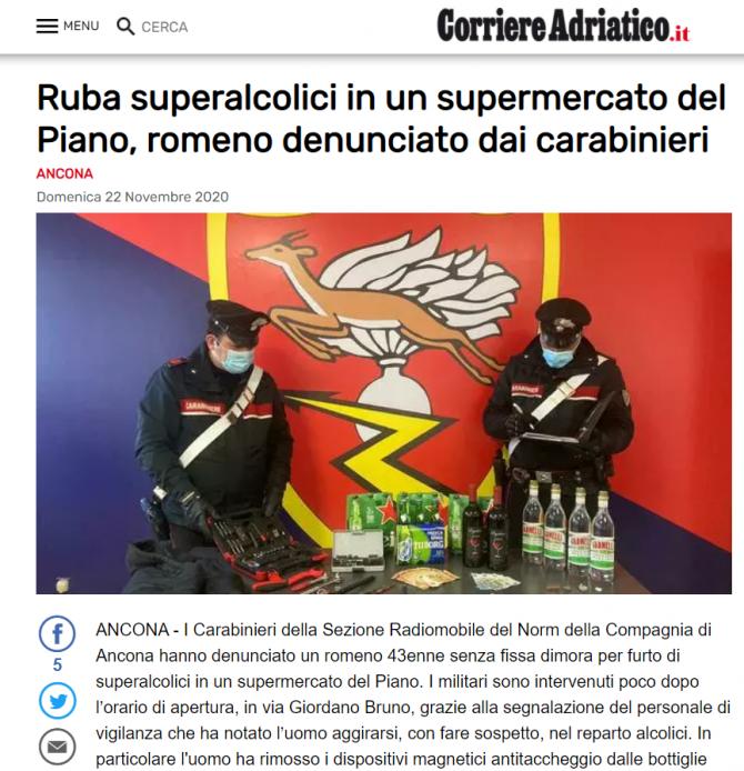 roman arestat italia furt bauturi alcoolice