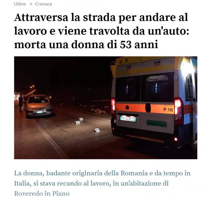 maria ianos romanca moarta accident italia