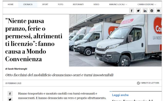 Mondo Convenienza, acuzata ca a exploatat muncitori romani