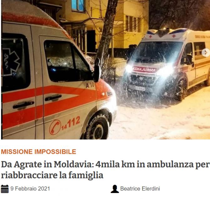 barbat grav bolnav italia transportat in Moldova