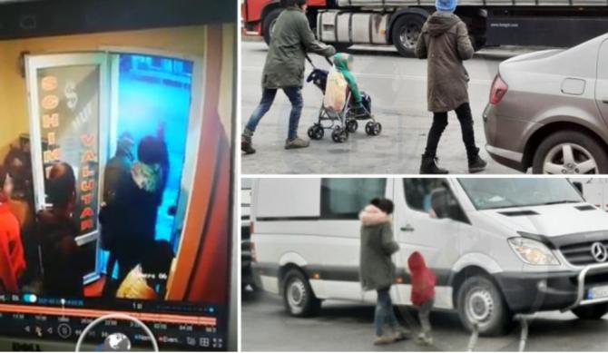 Româncă filmată când bate un copil pentru că nu a strâns suficienţi bani din cerşit, la vamă (VIDEO)