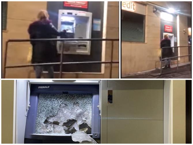 O româncă din Italia a distrus un bancomat cu ciocanul (Foto: captură Youtube/meridionews.it)