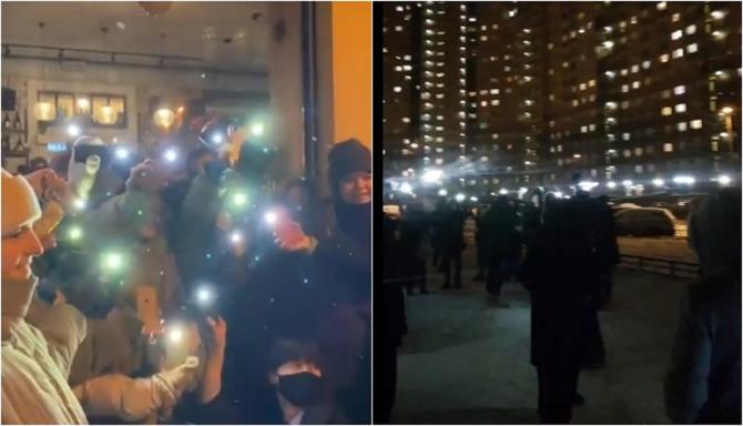 Rușii au organizat un protest al luminilor, de Ziua Îndrăgostiților, pentru a-l susține pe Alexei Navalnîi