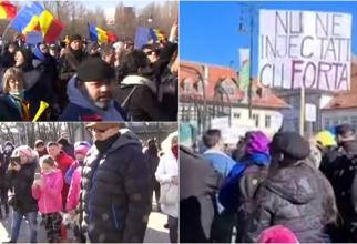 """Proteste în mai multe orașe din România Sute de oameni au ieșit în stradă """"Nu ne injectați cu forța!"""""""