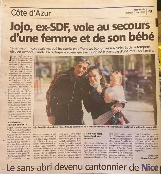 Jojo, român-erou în Franţa (sursa foto: Luca Niculescu / Facebook)