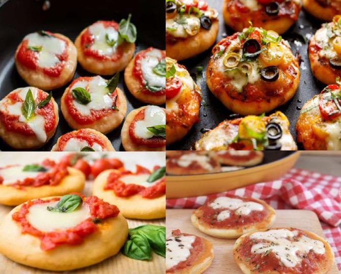 mini pizza cu ciuperci si rosii