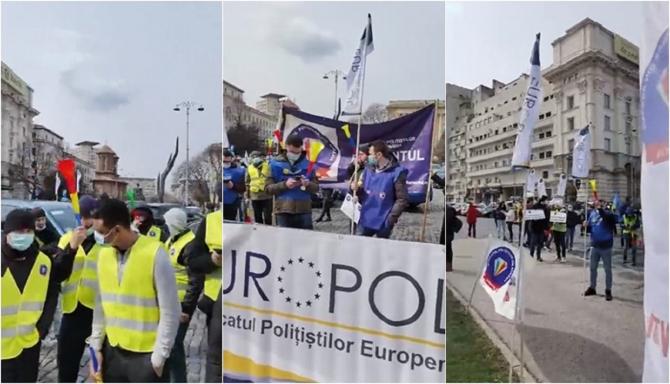 Poliţiştii protestează în Piaţa Victoriei, de ziua lor