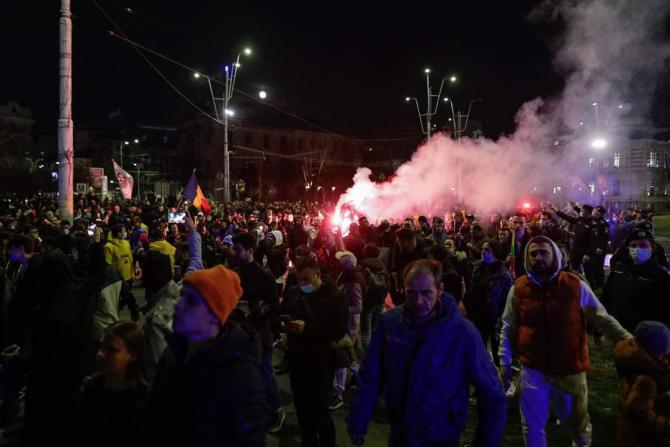 Protest anti-restricții desfășurat în București în alte orașe mari ale României (Foto: Lucian Bode/FB)