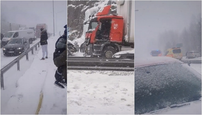 Români prinși într-un accident cu zeci de mașini, în Finlanda
