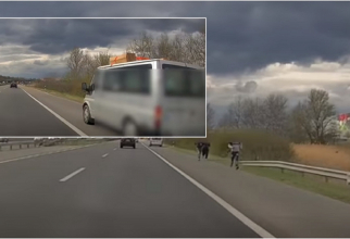 Ungaria. Pachetele românilor, pericol pe autostradă după ce-au început să cadă de pe microbuz (VIDEO)