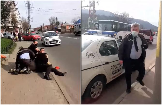 Bărbat din Piatra Neaț, pus la pământ de 5 polițiști locali