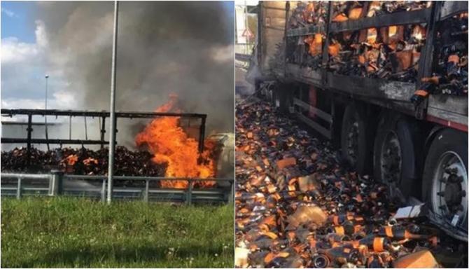 Italia. Un TIR românesc plin cu vin spumant s-a făcut scrum pe autostradă. Pagube uriașe