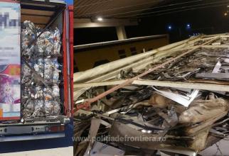 Trei camioane, oprite la vama Giurgiu. Erau încărcate cu zeci de tone de deșeuri