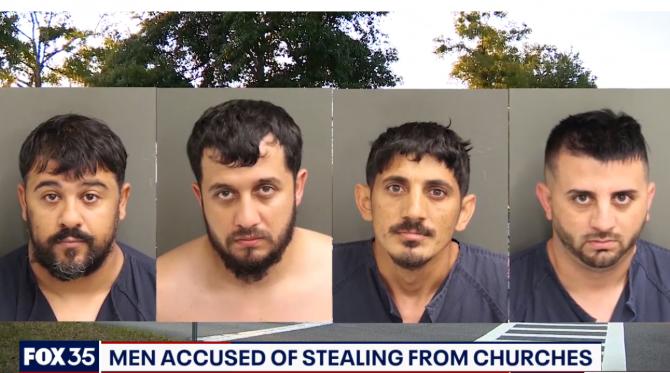 Cei patru români acuzați că au furat de la biserici din SUa (Sursa: Fox35 Orlando)
