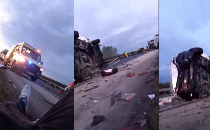 Ungaria Accident. Microbuz cu români, răsturnat Sursa youtube vasiledale1978