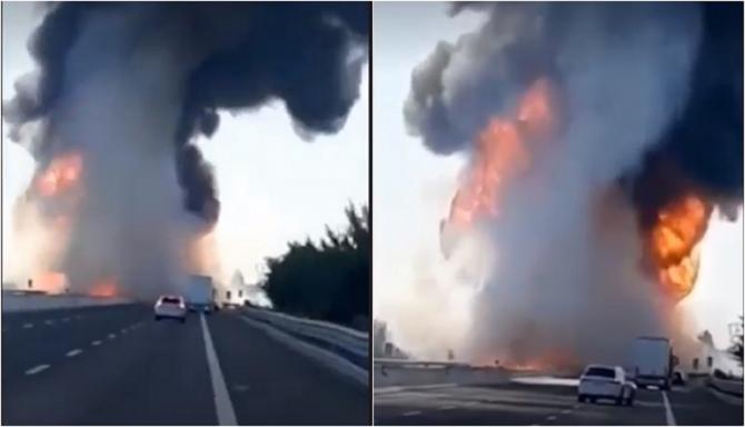 Italia. Imagini de GROAZĂ de la explozia în care au ars de VII șoferii de TIR în interior - VIDEO