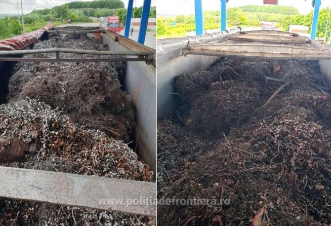 Zeci de tone deșeuri metalice, oprite la PTF Călărași. Șoferii bulgari nu au putut prezenta actele