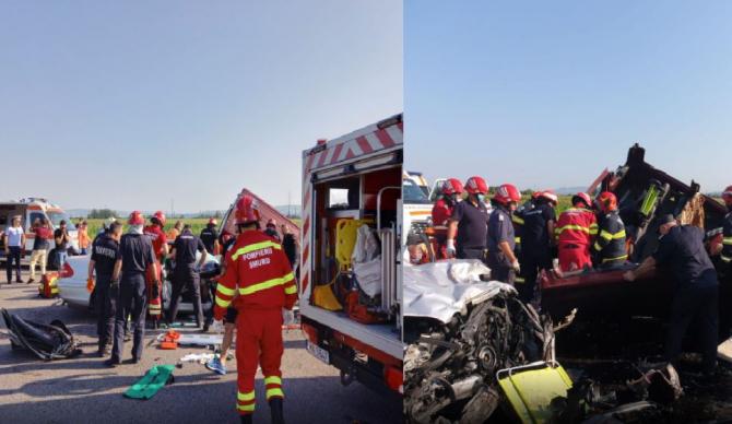 Accident grav în Bacău. Autoturismul, implicat în coliziune, avea volanul pe dreapta. Doi copii şi un adult din mașină au murit
