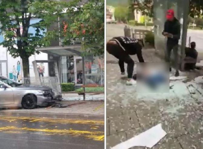 Doi români, soț și soție, spulberați de un BMW, scăpat se sub control. Mașina a intrat într-o stație de autobuz Sursa Antena3