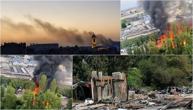 Franța. 400 de muncitori români și bulgari, atacați de 40 de tineri. Le-au dat foc la tabără