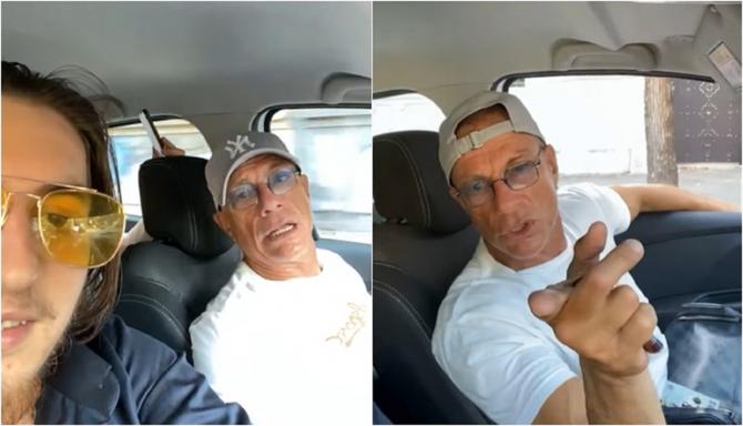 Jean-Claude Van Damme, filmat într-o mașină alături de români, ascultând manele - VIDEO