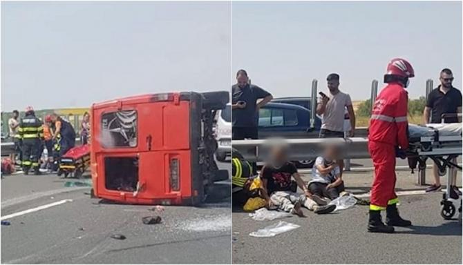 Microbuz cu români, accident teribil pe autostradă. Nouă victime